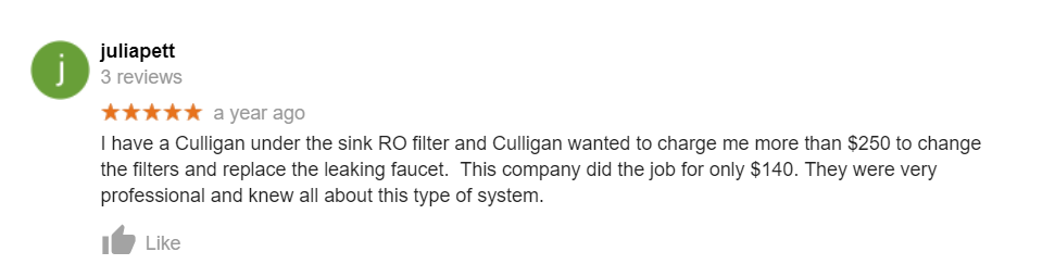 culligan ro service review