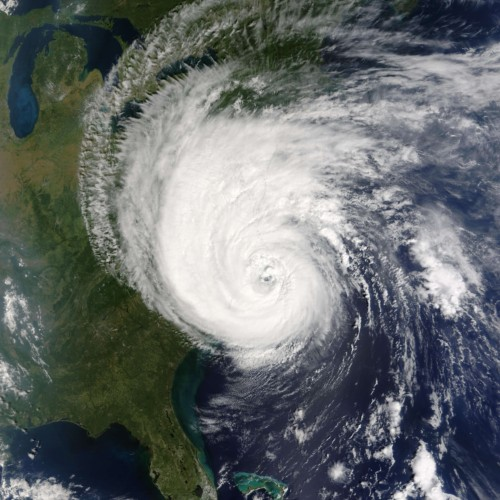 hurricane on US map
