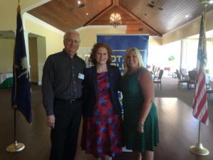 Pictured L-R Walt Macuda - NMB Rotary Club Admin / Program Chair CCU's Holley Tankersley Ph.D Stephanie Chestnut - NMB Rotary Immediate Past President