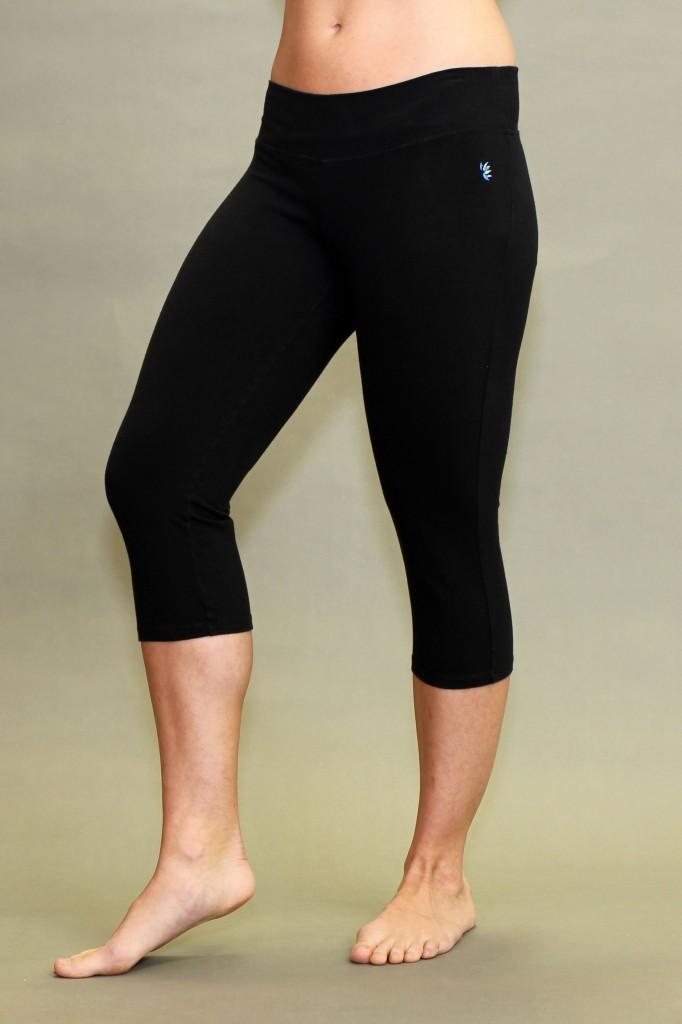 Organic Cotton Crop Yoga Legging - Black by Blue Lotus Yogawear