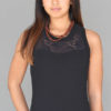 Organic Cotton Lace Yoke Tank with Inside Shelf Bra - Black by Blue Lotus Yogawear