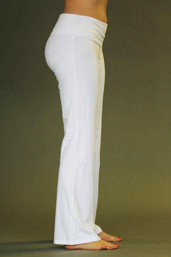 Organic Cotton Fold-over Waistband Yoga Pant - Kundalini White
