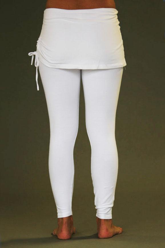 Organic Cotton Yoga Skirted Legging - Kundalini White
