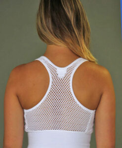 Organic Cotton Mesh Back Bra- Kundalini White Back