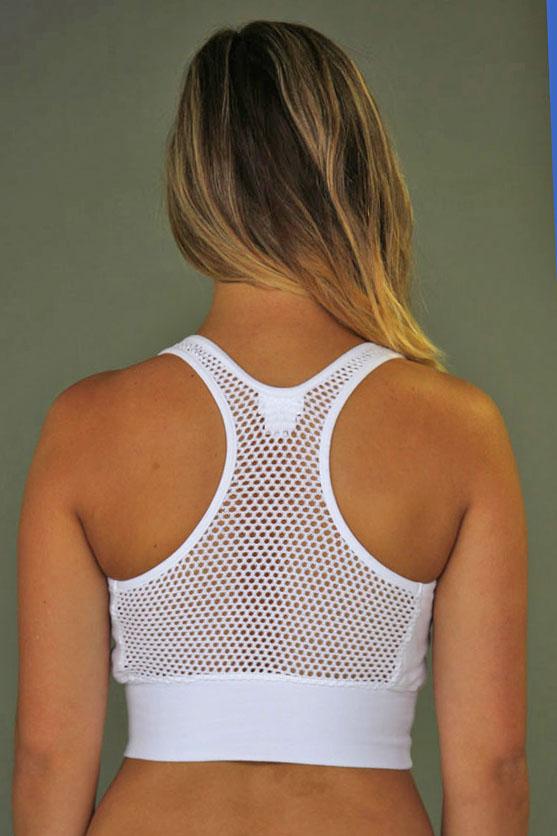 Organic Cotton Mesh Back Bra- Kundalini White Back