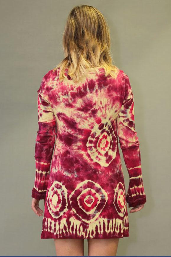 Tie-dye Gauze Long Sleeve Tunic Dress - Ruby & Daffodil
