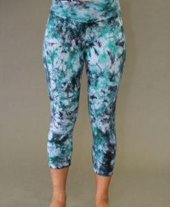 Organic Cotton Yoga Legging - Turquoise/Black Tie-dye