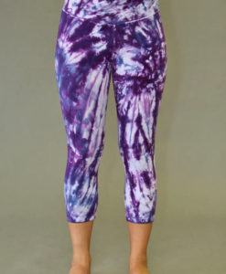 Organic Cotton Crop Yoga Legging - Purple Spiral Tie-dye by Blue Lotus Yogawear