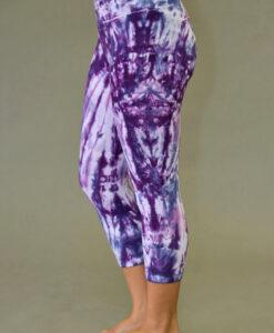 Organic Cotton Crop Yoga Legging - Purple Spiral Tie-dye
