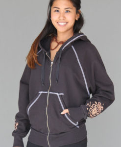 Hand-Painted Zip Front Fleece Hoodie - Mehndi Design by Blue Lotus Yogawear