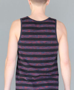 Men's Stripe Yoga Tank - Black and Red back by Blue Lotus Yogawear
