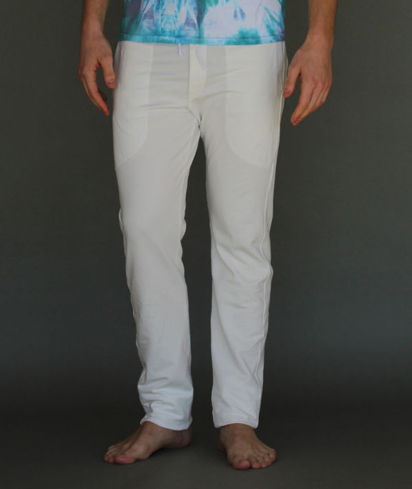 Men's Organic Cotton 4-Way Stretch Yoga Pant - Kundalini White by Blue Lotus Yogawear.