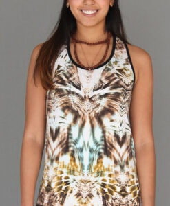 Tiger Print Cinch Back Yoga Tank by Blue Lotus Yogawear