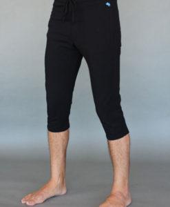 Men's Organic Cotton 4-way Stretch Capri Yoga Pant - Black by Blue Lotus Yogawear