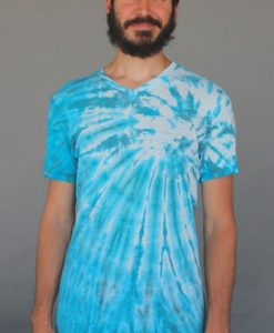Men's Tie Dye V-Neck Yoga Cut Tee- Turquoise Spiral by Blue Lotus Yogawear