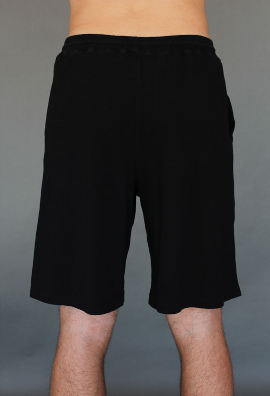 Men's Cotton Yoga Short With Pockets- Black - back- by Blue Lotus Yogawear