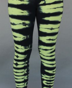 Organic Cotton Bengal Tiger Tie Dye Ankle Length Yoga Legging- Lime Black by Blue Lotus Yogawear