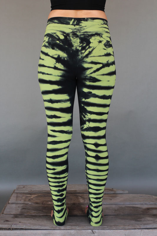 Organic Cotton Bengal Tiger Tie Dye Ankle Length Yoga Legging- Lime Black Back by Blue Lotus Yogawear