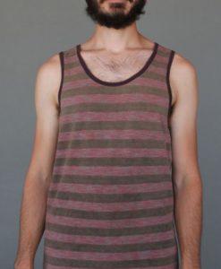 Men's Stripe Yoga Tank - Coral and Sand by Blue Lotus Yogawear