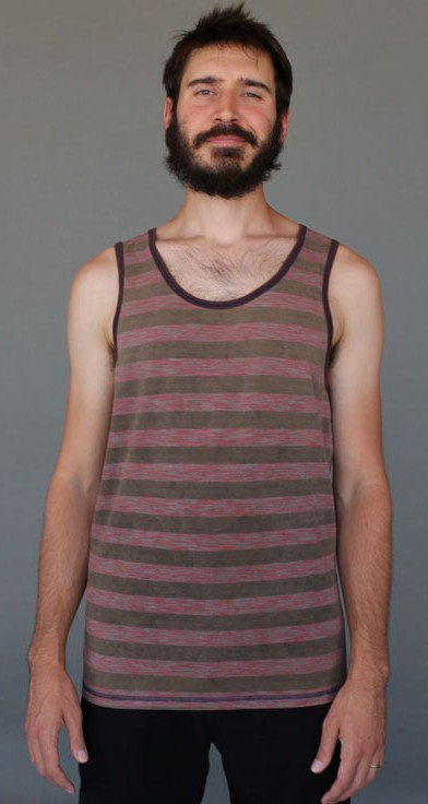 Men's Stripe Yoga Tank - Coral and Sand by Blue Lotus Yogawear