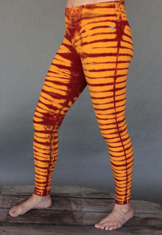Organic Cotton Bengal Tiger Tie Dye Ankle Length Yoga Legging- Inner Fire by Blue Lotus Yogawear