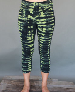 Organic Cotton Crop Yoga Legging - Lime/Black Tie-dye