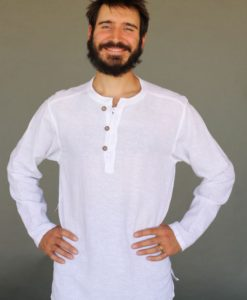 Men's Linen Long Sleeve Guru Shirt - Kundalini White by Blue Lotus Yogawear