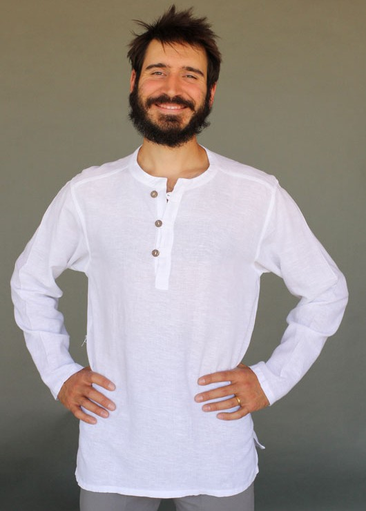 Men's Linen Long Sleeve Guru Shirt - Kundalini White by Blue Lotus Yogawear