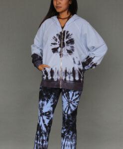 Tie Dye Zip Front Fleece Hoodie - Serenity Blue Outfit by Blue Lotus Yogawear