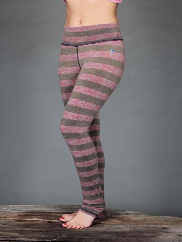 Striped Yoga Legging - Coral and Sand Stripe by Blue Lotus Yogawear
