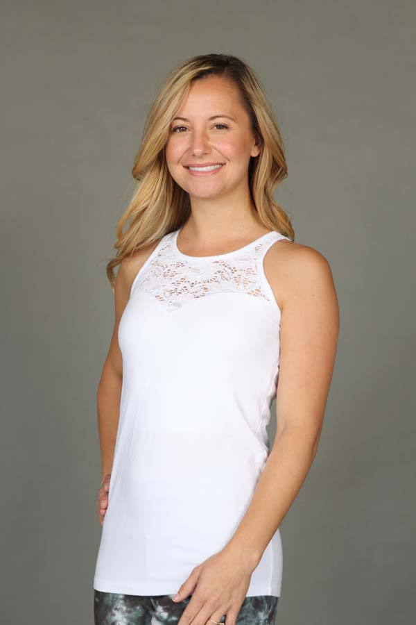 Organic Cotton Lace Yoke Cami with Built-in Bra - Kundalini White by Blue Lotus Yogawear