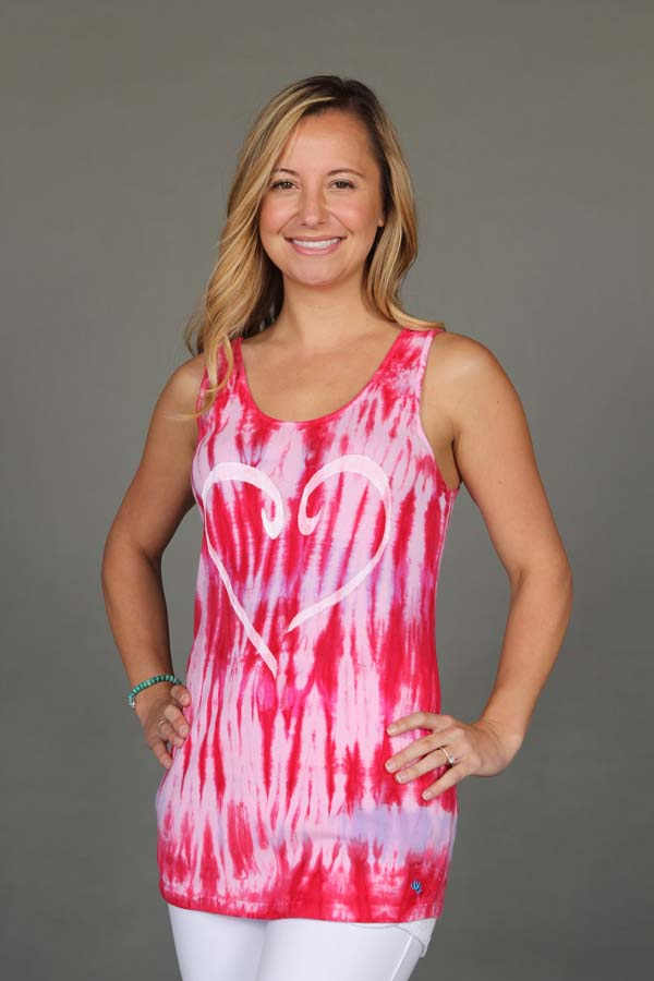 Heart Motif Yoga Tank Top - Red Tie Dye by Blue Lotus Yogawear