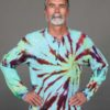 Men's Linen Long Sleeve Guru Shirt - Hippy Tie Dye by Blue Lotus Yogawear