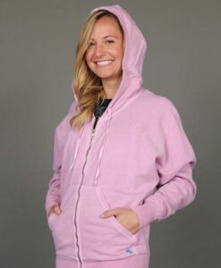 Zip Front Fleece Hoodie - Distressed Pink by Blue Lotus Yogawear