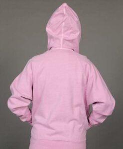 Zip Front Fleece Hoodie - Distressed Pink Back by Blue Lotus Yogawear