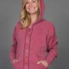 Zip Front Fleece Hoodie - Distressed Cranberry by Blue Lotus Yogawear