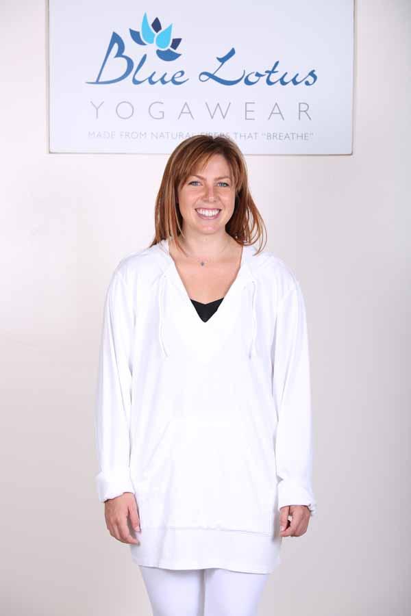 Organic Cotton Baja Hoody- Kundalini White by Blue Lotus Yogawear