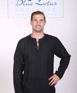 Men's Linen Long Sleeve Guru Shirt - Black by Blue Lotus Yogawear