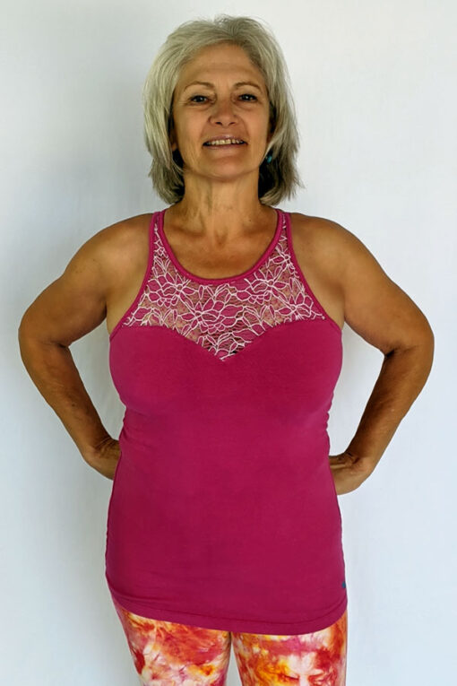 Organic Cotton Lace Yoke Cami with Built in Bra - Magenta by Blue Lotus Yogawear