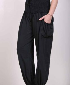 Organic Cotton Elastic Shirred Yoke Harem Pant- Black Jersey Knit