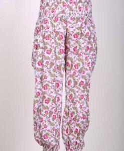 Printed Cotton Elastic Shirred Yoke Harem Pant- Pink Floral