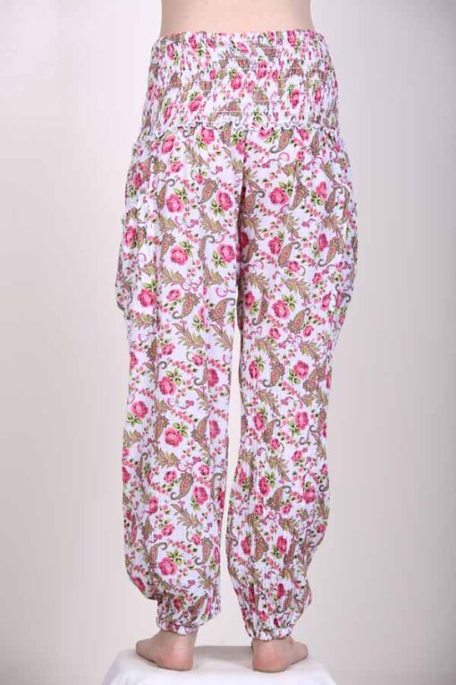 Printed Cotton Elastic Shirred Yoke Harem Pant- Pink Floral