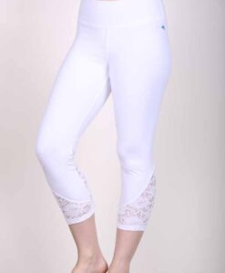 Organic Cotton Lace Calf Capri Yoga Legging- Kundalini White by Blue Lotus Yogawear
