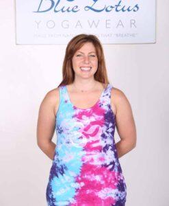 Om Symbol Yoga Tank Top - Turq-Purple Tie Dye by Blue Lotus Yogawear