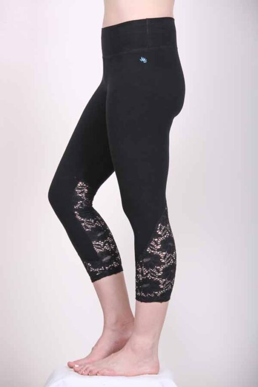 Organic Cotton Lace Calf Capri Yoga Legging- Black by Blue Lotus Yogawear