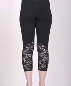 Organic Cotton Lace Calf Capri Yoga Legging- Black Back View