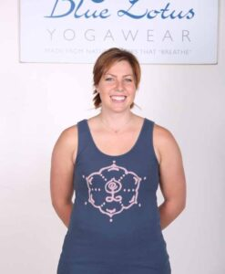 hand Painted Inner Guru Motif Yoga Tank Top - Indigo by Blue Lotus Yogawear