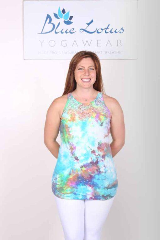 Organic Cotton Lace Yoke Cami Built in Bra -Tie Dye by Blue Lotus Yogawear
