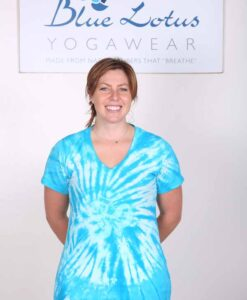 100% Cotton OM Spiral Tie Dye Yoga Tee- Turquoise by Blue Lotus Yogawear