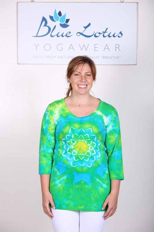 100% Cotton Lotus Tie Dye- 3/4 Slv Yoga Tee- Pond Green by Blue Lotus Yogawear